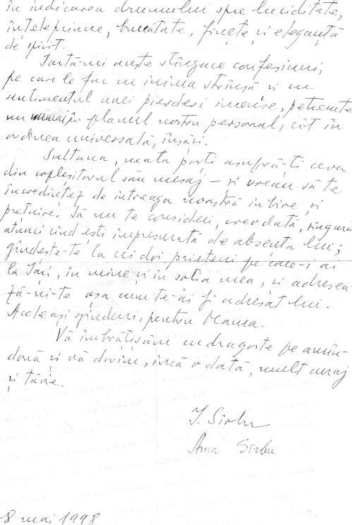 Muzeul scrisorilor Ion Sirbu catre SB p.2 28 mai 1998